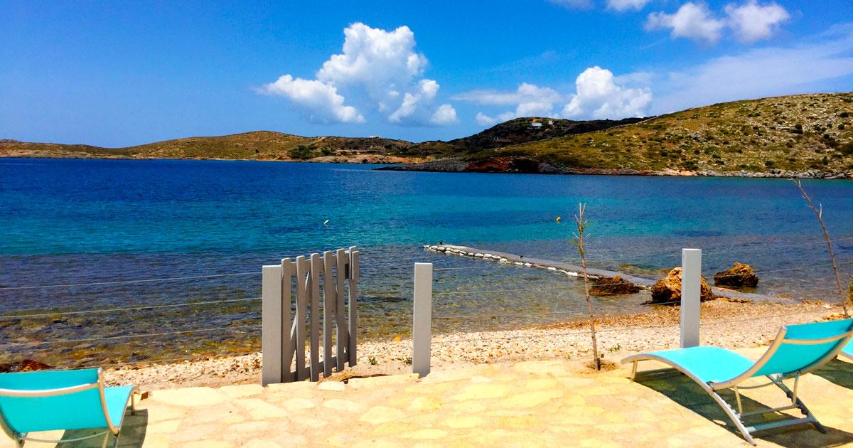 Une plage privée à la Villa M, maison de location pour vos vacances Lipsi