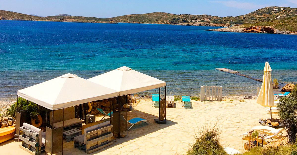 La plage privée de la Villa M à Lipsi