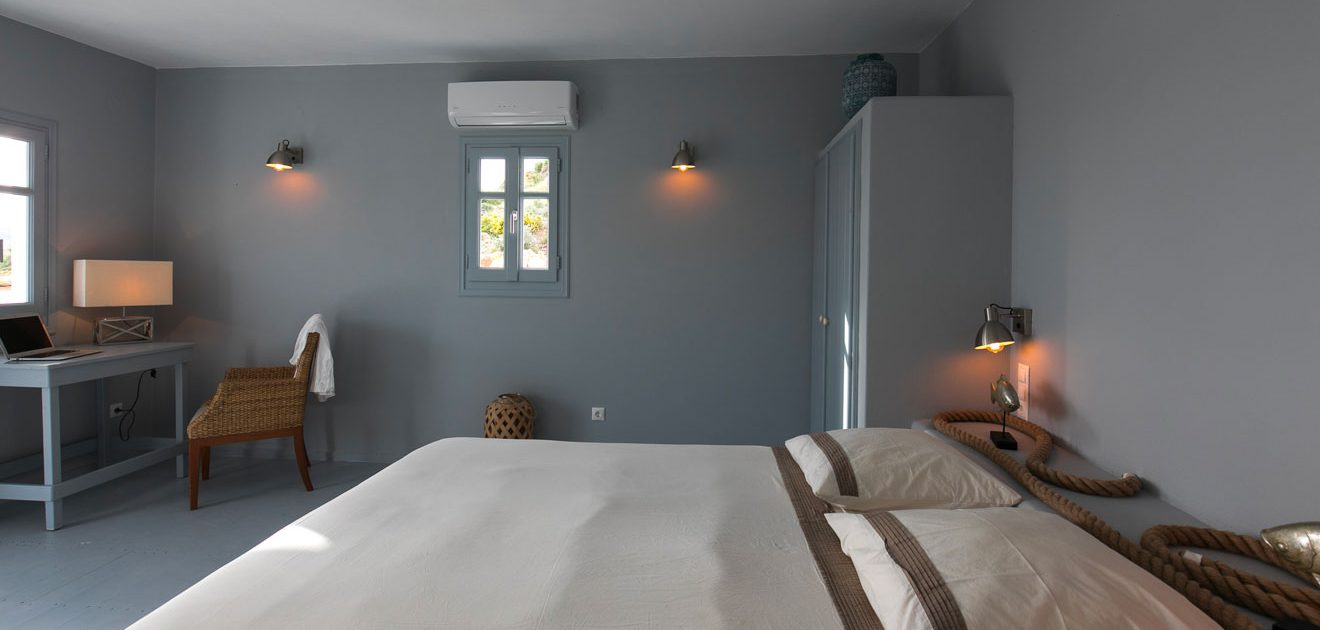 Des chambres spacieuses à la Villa M, Lipsi