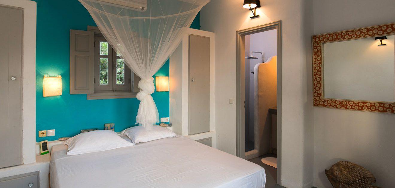 Des chambres avec climatisation à la Villa M, Lipsi